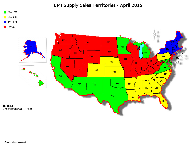 BMI Supply Sales Territories